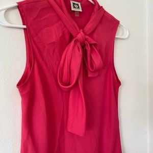 Anne Klein Pink Sleeveless Blouse with Tie